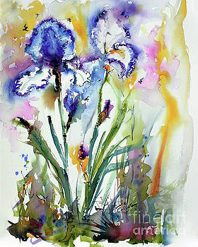 Ginette Callaway - Blue Bearded Irises Flower Watercolor