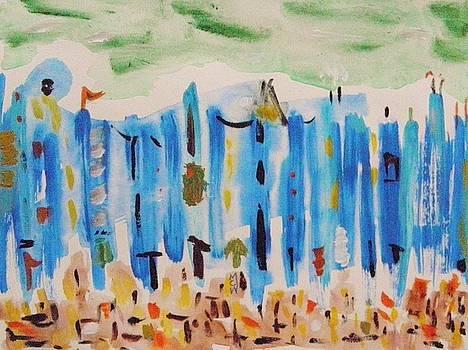 Blue City and Brick Sidewalk by Mary Carol Williams