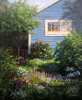 Blue Cottage by Linda Jacobus
