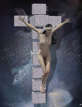 Crucified on the cross Hypercube by Quim Abella