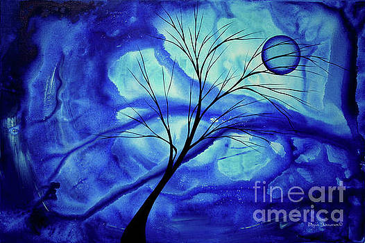 Blue Depth Abstract Original Acrylic Landscape Moon Painting by Megan Duncanson by Megan Duncanson