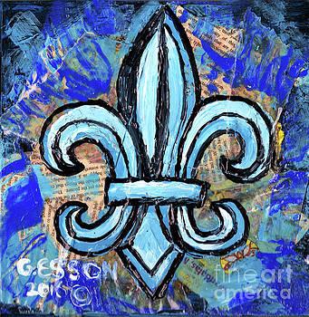 Blue Fleur De Lis by Genevieve Esson