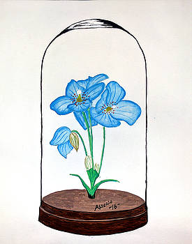 Blue Flower Under Glass Cloche by Edwin Alverio