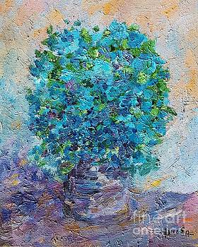 Blue flowers in a vase by AmaS Art