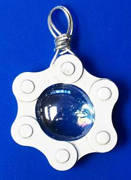 Blue glass in chain by Leeah Borner