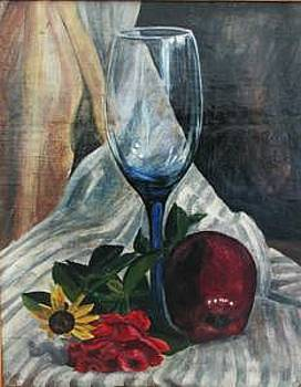 Blue Glass Waiting For The Other by Judy Loper