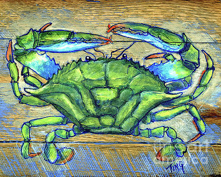 Blue Green Crab on Wood by Doris Blessington