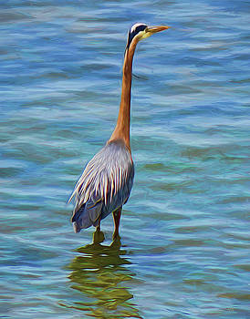 Blue Heron Digital Art by Rick Lawler