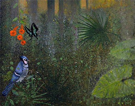 Blue Jay and Butterfly by Maury Hurt