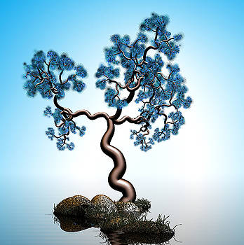Blue math  tree 2 by GuoJun Pan