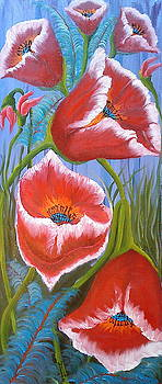 Blue Purple Sky Red Poppies 1 by Portland Art Creations