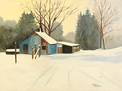 Blue Shed in Winter  by Margaret Farrar