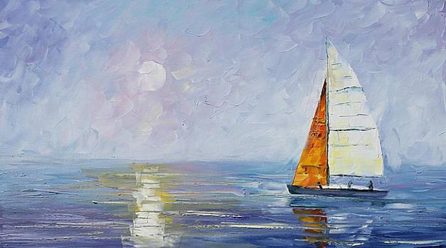 Blue Sunrise - PALETTE KNIFE Oil Painting On Canvas By Leonid Afremov by Leonid Afremov