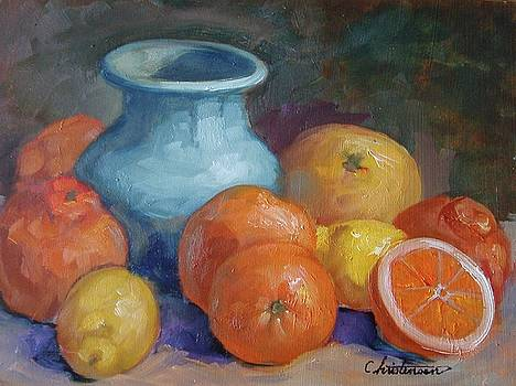 Blue Vase Among Fruit by Larry Christensen