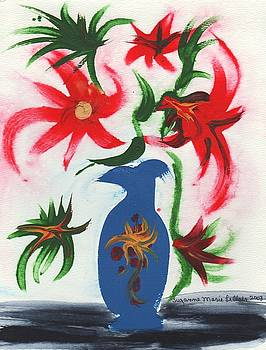Suzanne  Marie Leclair - Blue Vase and Flowers