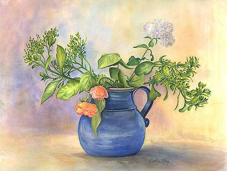 Blue Vase With Two Roses by Kathy Harker-Fiander