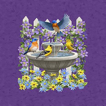 Crista Forest - Bluebird Goldfinch Birdbath Garden Mauve