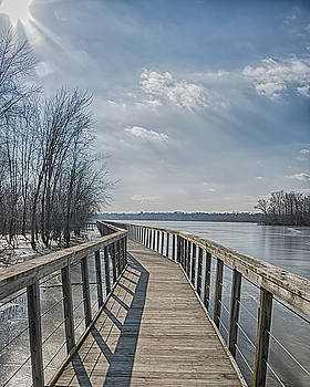 Boardwalk In Winter by Elaine Farrington Johnson