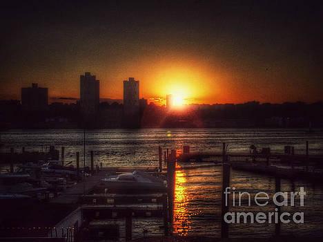 Boat Basin Gold - Sunset in New York by Miriam Danar