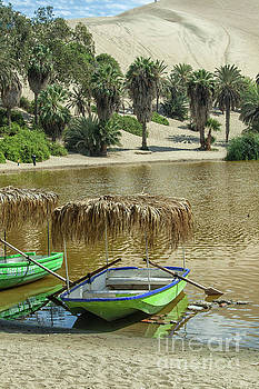 Boat in the Huacachina lagoon in Peru by Patricia Hofmeester