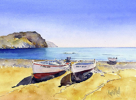 Boats On The Beach At Las Neras by Margaret Merry