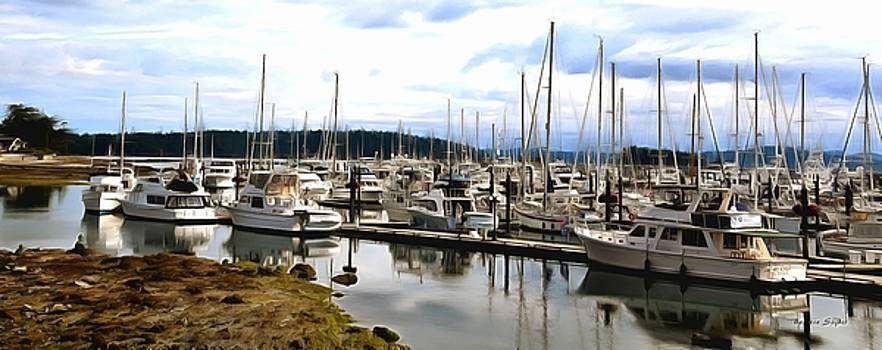 Boats Sidney Pleasure Boat Harbor British Columbia Canada Painting by Barbara Snyder