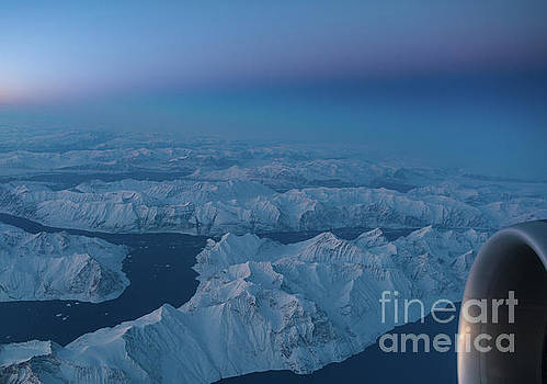 Boeing 777 Flying Over Greenland Fjords by Mike Reid
