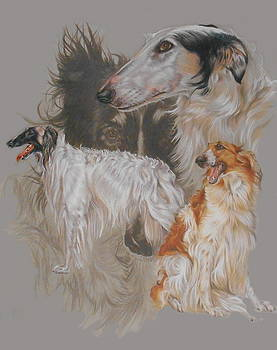 Borzoi with Ghost by Barbara Keith