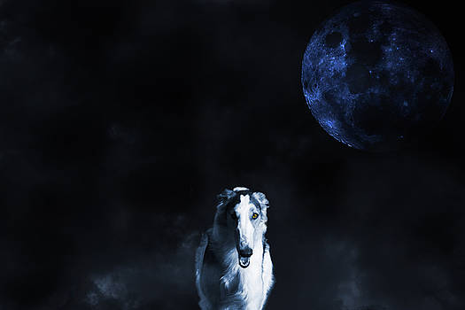 Borzoi wolf-hound, hunting under a full moon by Christian Lagereek