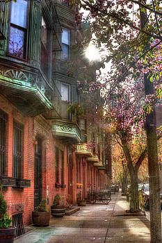 Boston Brownstones in Spring by Joann Vitali