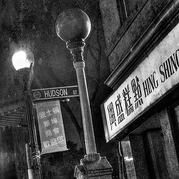 Boston Chinatown Hudson St. Lamp Post - Urban Black and White by Joann Vitali