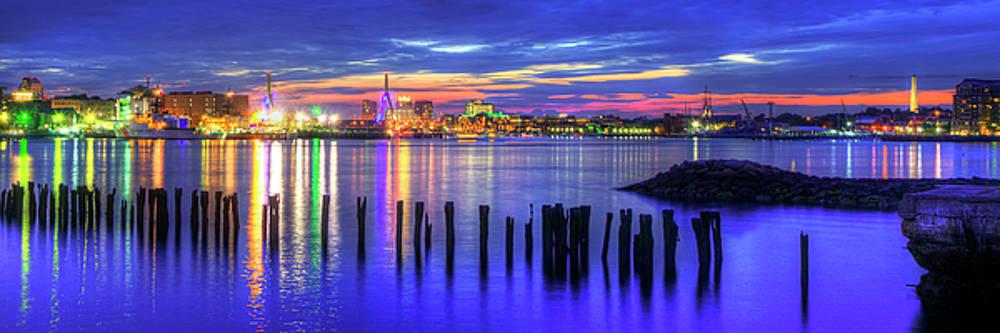 Boston Harbor Sunset and the Zakim Bridge - Lopresti Park by Joann Vitali