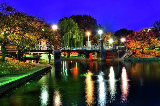 Boston Public Garden in Autumn at Night by Joann Vitali