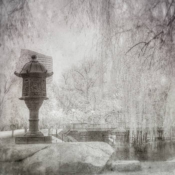 Boston Public Garden Japanese Lantern - Black and White by Joann Vitali