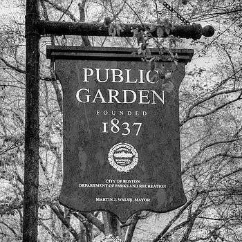 Boston Public Garden Sign Black and White by Joann Vitali