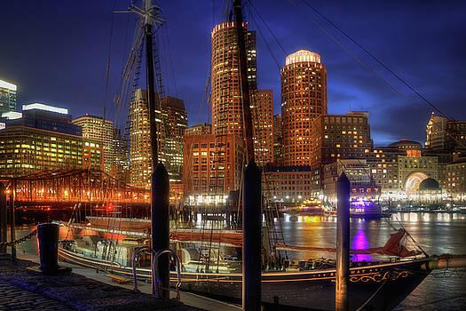 Boston Skyline at Night - The Roseway - Boston Harbor by Joann Vitali