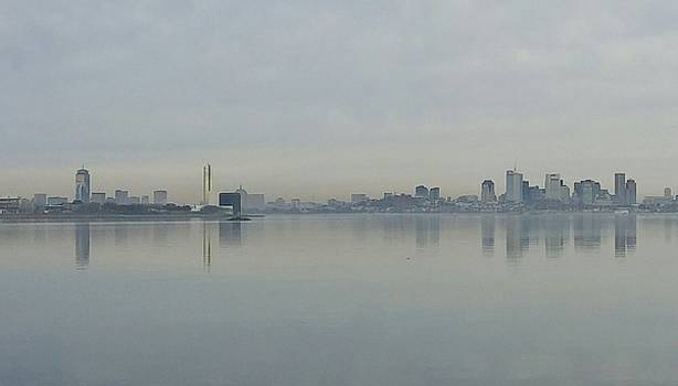 Boston Skyline- Morning Reflection by Deborah Squires