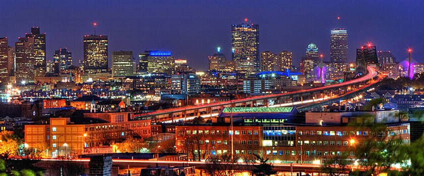 Boston Skyline Panoramic at Night by Joann Vitali