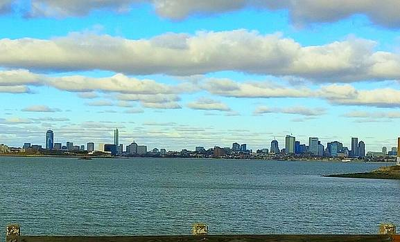 Boston Skyline with Clouds by Deborah Squires