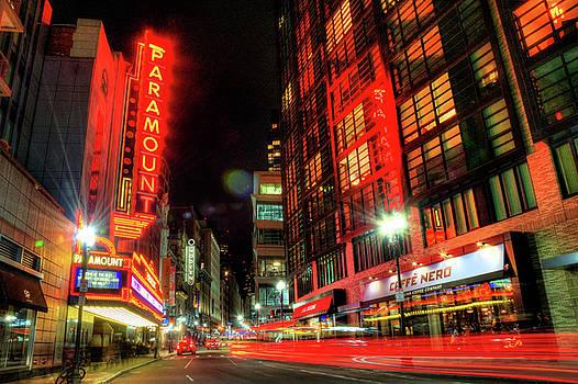 Boston Theatre District at Night by Joann Vitali