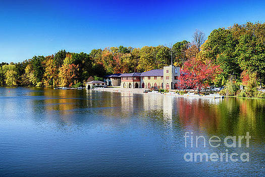 Boathouse on Lake Carnegie with Autumn Foliage by George Oze