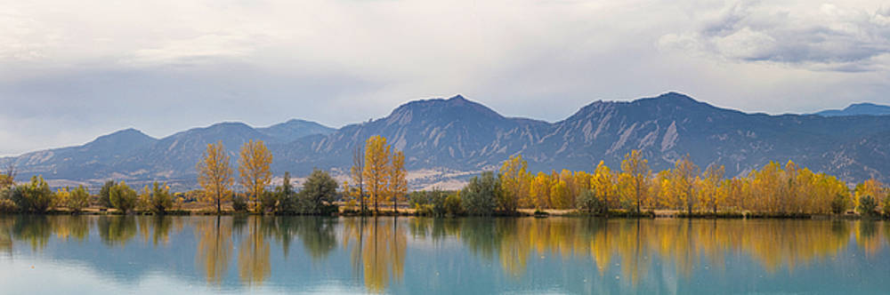James BO  Insogna - Boulder Colorado Autumn Flatiron Panorama Reflections