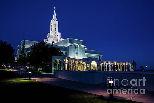 Bountiful Mormon LDS Temple at Twilight - Utah by Gary Whitton