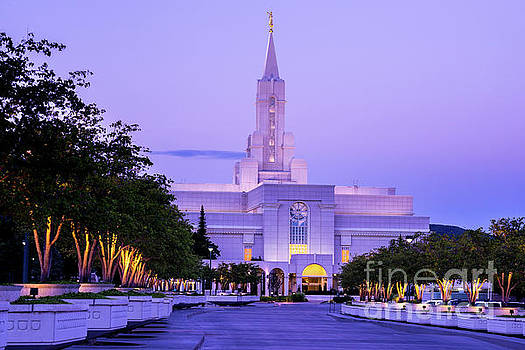 Bountiful Mormon Temple Sunrise - Utah by Gary Whitton
