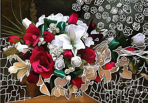 Bouquet Roses Hand Lined Design  by Catherine Lott