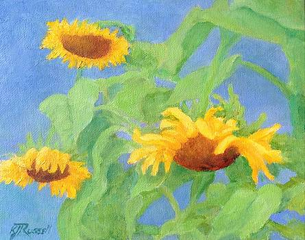 K Joann Russell - Bowing Sunflowers Colorful Original Painting