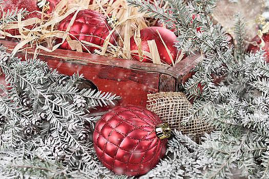Box of Red Glass Christmas Ornaments by Stephanie Frey