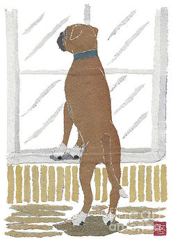 Boxer Dog Art Hand-Torn Newspaper Collage Art by Keiko Suzuki Bless Hue