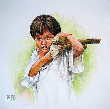 Boy Gathering Firewood by Bong Perez