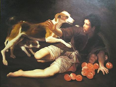 Boy With Two Dogs by Michael Chesnakov